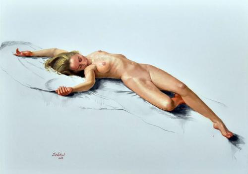 100 x 70 yang nude (charcoal and oil on cardboard)